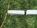A standard 2X3 downspout on the left versus an over sized 4X3 downspout on the right. That's twice the drainage!