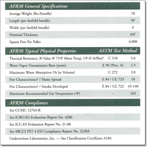 AFR38 Fanfold Reflective Underlayment Specifications