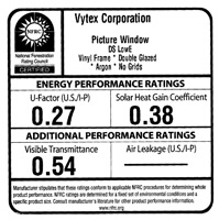 NFRC Rating: Vytex Picture Window
