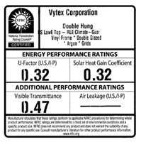 NFRC Rating: Vytex Double Hung Window
